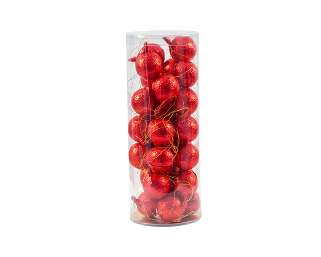 33225 Christmas balls red foil in tube 15 gram
