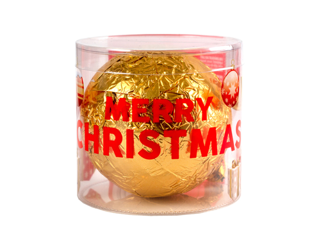 73030 Chocolate christmas ball in tube 80 gram