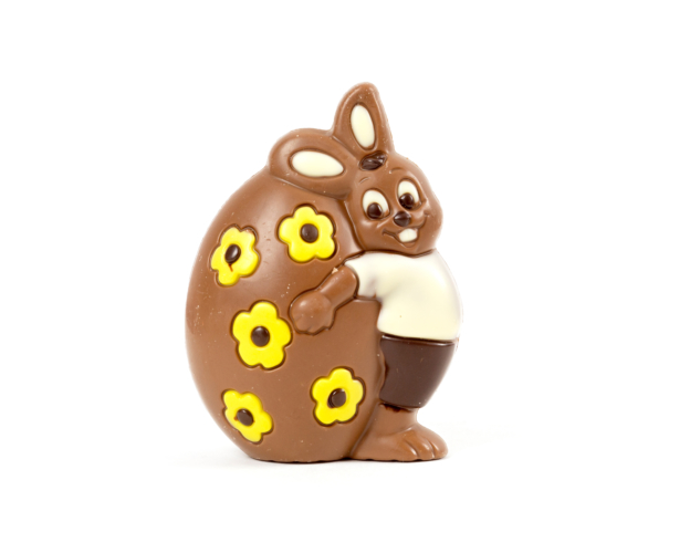 62758 Bunny with flower egg 100 gram