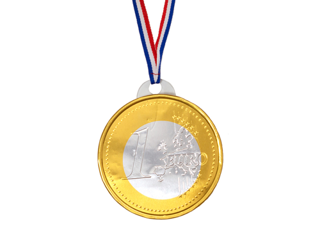 Medal 1 euro with cord 50 gram