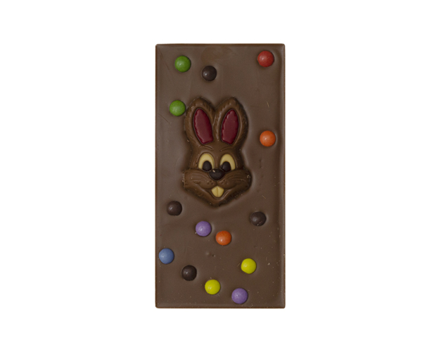 00730 chocolate bar with bunny and topping 100 gram